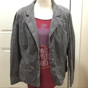 Fitted blazer gray muted plaid